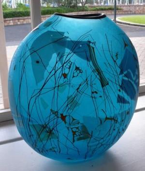 Blue Glass Art Quayside Town Basin